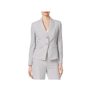 Kasper Womens Petites Two-Button Blazer Textured Pinstripe