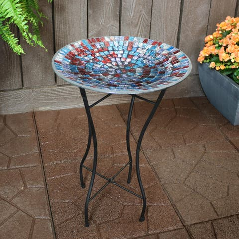 Sunnydaze Multi-Color Tile Glass Bird Bath Bowl with Stand - 14-Inch Diameter
