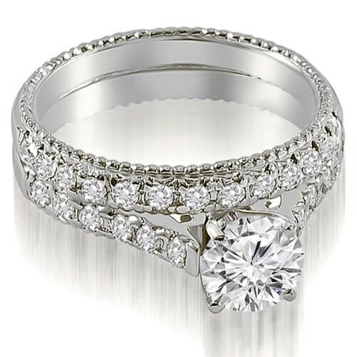 1.55 cttw. 14K White Gold Vintage Cathedral Round Cut Diamond Bridal Set
