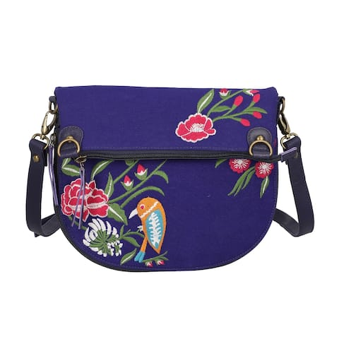 Shop LC Navy Floral Embroidered Leather Canvas Crossbody Bag Gifts - 10.5''x0.80''x12.5''