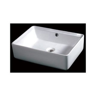 "Eago BA131 19-5/8"" Rectangular Vessel Bathroom Sink - White"