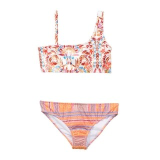 Azul Little Girls Orange Mayan Velvet One Shoulder Bikini 2 Pc Swimsuit (3 options available)