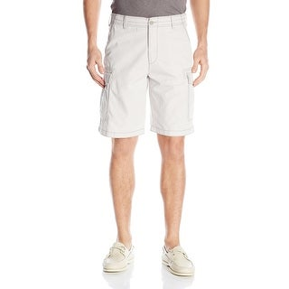 IZOD NEW Light Gray Mens Size 30 Rip-Stop Cargo Relaxed-Fit Shorts