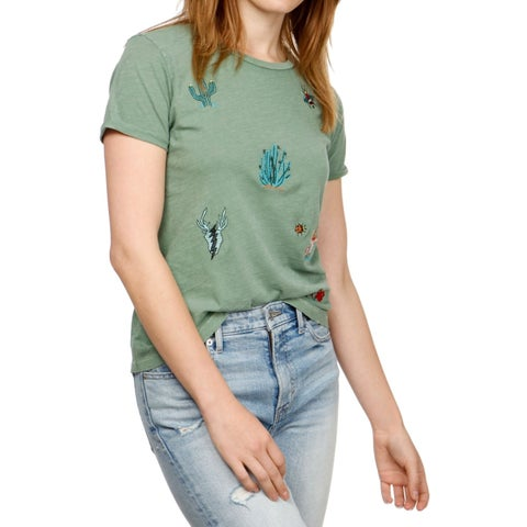 Lucky Brand Green Women's Size Medium M Crew Embroidered Knit Top