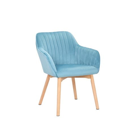 Porthos Home Bria Dining Chairs With Velvet Upholstery And Wooden Legs