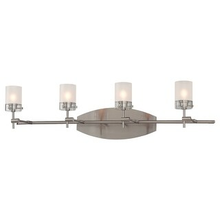 """Kovacs P5014 Shimo 4 Light 30-1/2"""" Wide Bathroom Vanity Light with Clear and acid Etched Shade - Brushed nickel"""