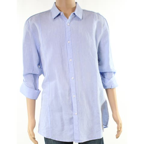 INC Light Mens Small Seamed Solid Button Down Shirt