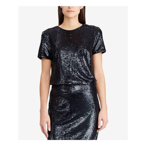 RALPH LAUREN Womens Navy Short Sleeve Jewel Neck Blouse Top Size L