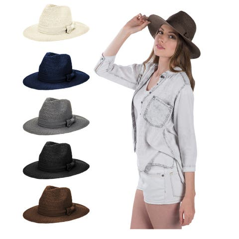 Womens Foldable Summer Beach Sun Sweatband Comfort Fedora Straw Hat