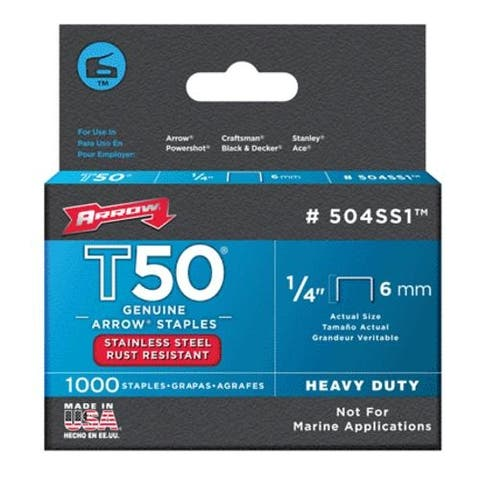 Arrow Fastener 504SS1 Stainless Steel T50 Staples, 1/4""