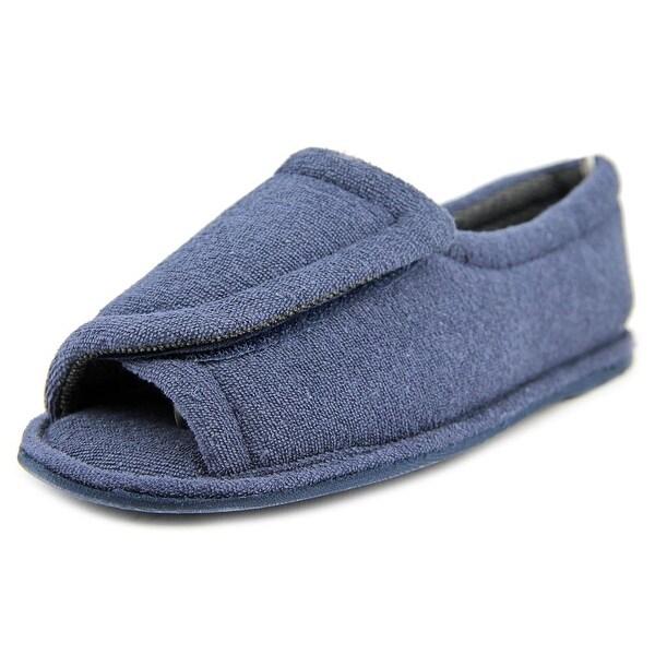 FootSmart Terry Open-Toe Slippers Women W Open-Toe Canvas Blue Slipper