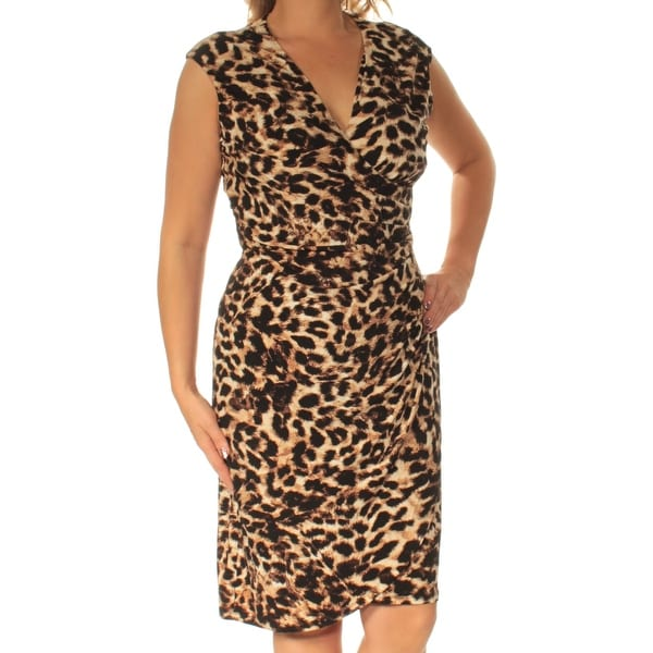 c63645feef Shop CALVIN KLEIN Womens Brown Animal Print Cap Sleeve V Neck Below The  Knee Sheath Evening Dress Size  16 - Free Shipping On Orders Over  45 -  Overstock - ...