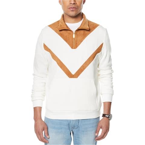 Sean John Mens Faux Suede Insert Pullover Sweater