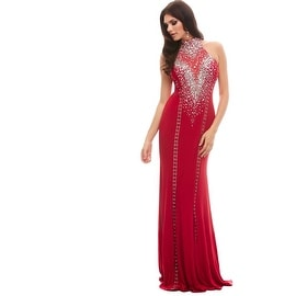 Mac Duggal Womens Embellished Halter Formal Dress