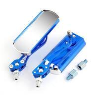 Unique Bargains 2 Pcs Motorbike Metal Rectangle Side Rearview Blind Spot Mirrors Blue