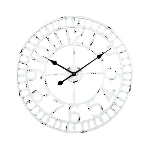 "Utopia Alley Manhattan Industrial Wall Clock, Analog, White, 24"""