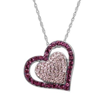 Crystaluxe Double Heart Pendant with Dark & Light Purple Swarovski Crystals in Rhodium-Plated Sterling Silver