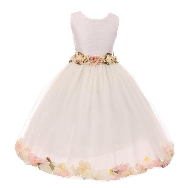 78b3973ba64 Little Girls Ivory Pink Floating Floral Petal Embellished Flower Girl Dress