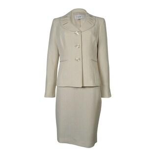 Le Suit Women's Tropical Blooms Speckled Skirt Suit - 10P