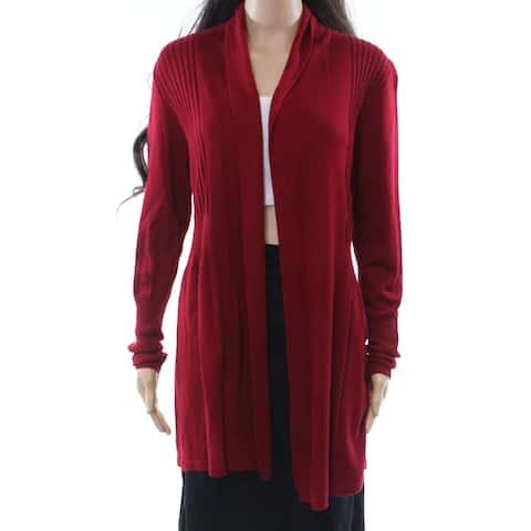 August Silk Red Womens Size Medium M Cardigan Ribbed Sweater