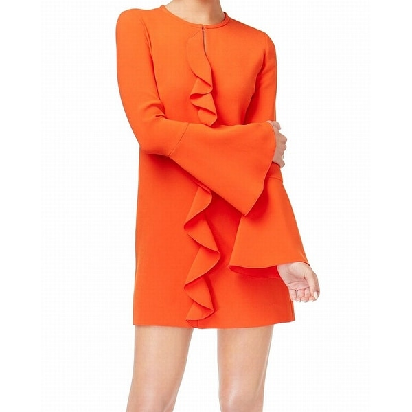 02b4ab2b866 Rachel Zoe Orange Women  x27 s Size 10 Ruffle Bell Sleeve Shift Dress