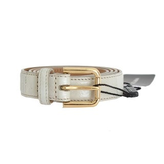 Dolce & Gabbana Gray Leather Gold Buckle Belt - 70-cm-28-inches