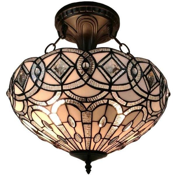 Tiffany Style Semi Flush Mount Ceiling Fixture Am231hl16 Amora Lighting Overstock 12050475