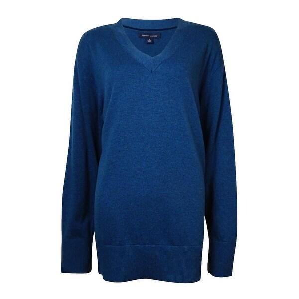 0eb543dbb75 Tommy Hilfiger Women's V-Neck Cotton Tunic Sweater - poseidon heather - m