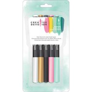 White; Gold; Black; Pink & Mint - Creative Devotion Opaque Medium Tip Markers