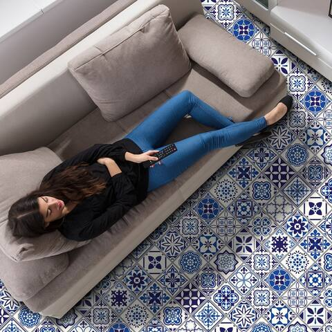 Walplus Spanish Moroccan Blue Tiles Self Adhesive Floor Sticker Decor