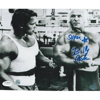 Superstar Billy Graham WWF Autographed 8x10 Photo Talking to Arnold