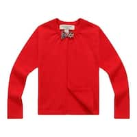 Richie House Girls Red Bow Open Cardigan 8