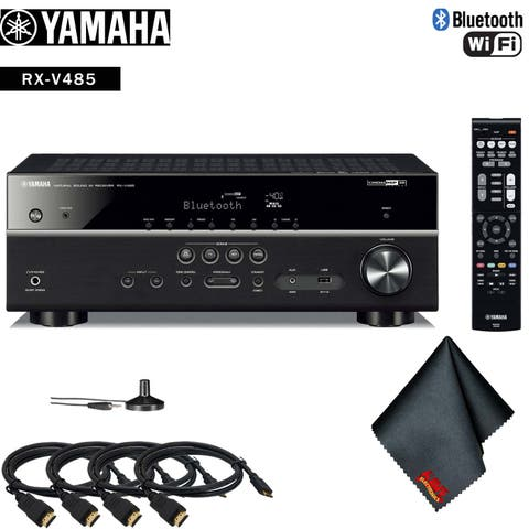 Yamaha RX-V485 5.1-Channel MusicCast A/V Receiver Accessory Kit - Includes - 4 x HDMI Cable + More!