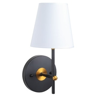Co Z 1 Light Wall Sconce With White Fabric Shade Black Shefinds