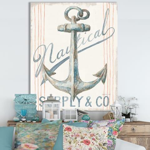 Designart 'RW Floursack Nautical V' Cottage Canvas Wall Art