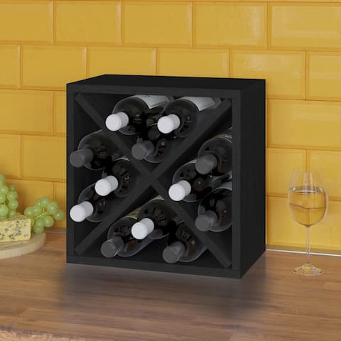 12-Bottle Wine Rack Cube Storage, Black (Tool-Free Assembly and Uniquely Crafted from Sustainable Non Toxic zBoard Paperboard)