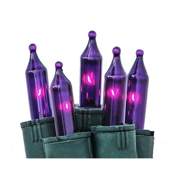 Set of 50 Purple Perm-O-Snap Mini Christmas Lights - Green Wire