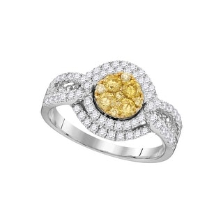 1 Ctw Natural Yellow Diamond Bridal Engagement Ring 14K White-Gold