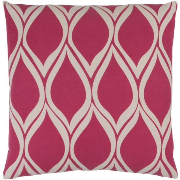 "20"" Falling Drops Raspberry Pink Background with Cloud Gray Throw Pillow- Down Filler"