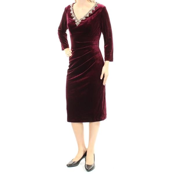Shop Alex Evenings Womens Burgundy Beaded Long Sleeve V