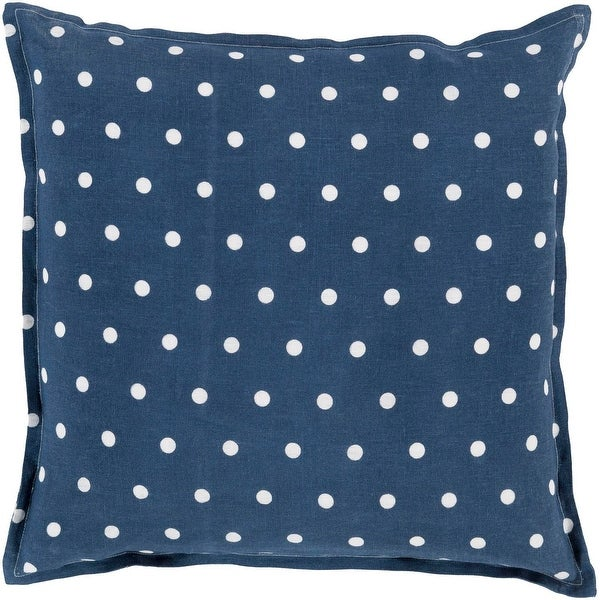 """18"""" Navy Blue and White Polka Dot Printed Decorative Square Throw Pillow - Down Filler"""
