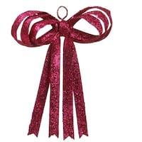 "13.5"" Pretty in Pink Sparkling Fuchsia Glitter Christmas Ribbon Bow Decoration"