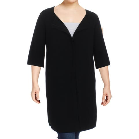 Lafayette 148 New York Womens Duster Sweater Zip Front Duster