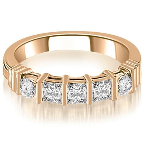 0.70 cttw. 14K Rose Gold Princess And Round Cut Diamond Wedding Band