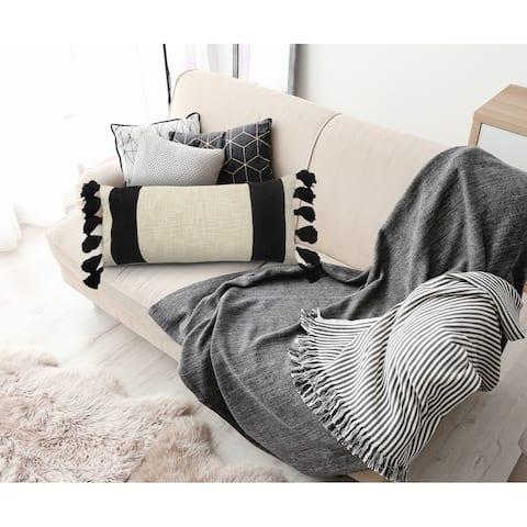 LR Home Color Block Ivory and Black Fringe Pillow
