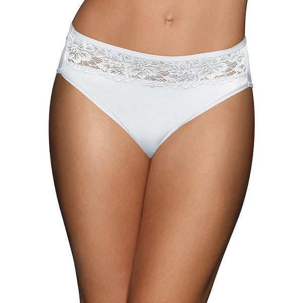 Bali One Smooth U Comfort Indulgence Satin with Lace Hi Cut Panty - Size - 6 - Color - White