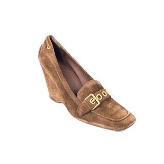 Prada Car Shoe Womens Brown Suede Grommet Buckle Wedge Heels