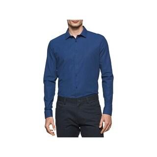 Calvin Klein Mens Infinite Casual Shirt Checkered Slim Fit - XL