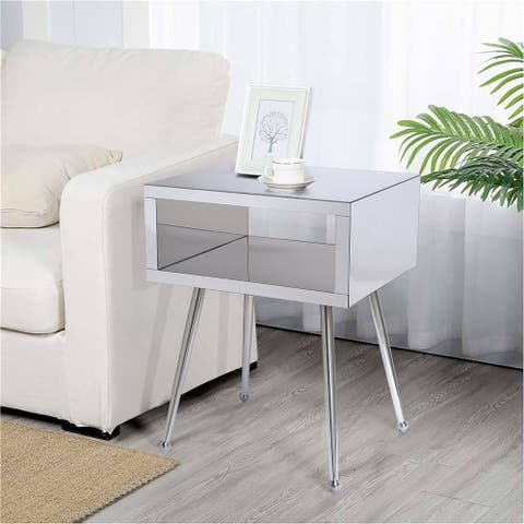 Mirror End Table Mirror Nightstand End&Side Table