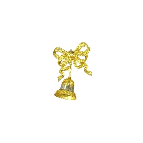 Pack of 2 Clear and Gold Glitter Bow with Bell Christmas Ornaments 5""
